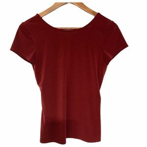 Express Open Back Short Sleeve Top Wine Size XS